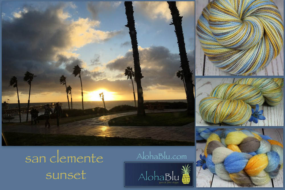 SAN CLEMENTE SUNSET: Superfine Merino-Silk - Hand dyed Lace Weight Yarn - Sunset colors - California Beach sunset