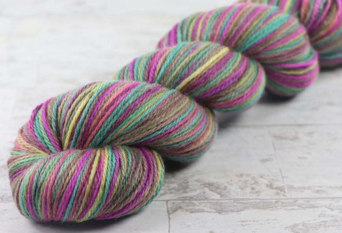 SATURATED SPRING: Polwarth / Silk - DK weight - Hand dyed Variegated yarn