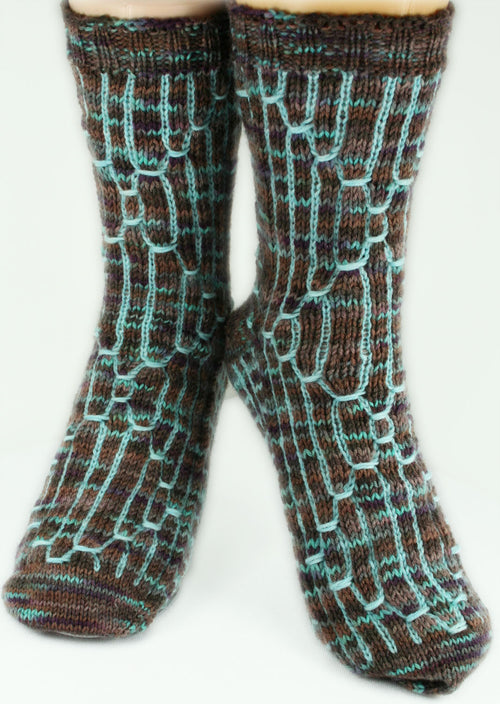KNITTING PATTERN for Sci-Fi Socks - Charted Colorwork Sock pattern - digital download