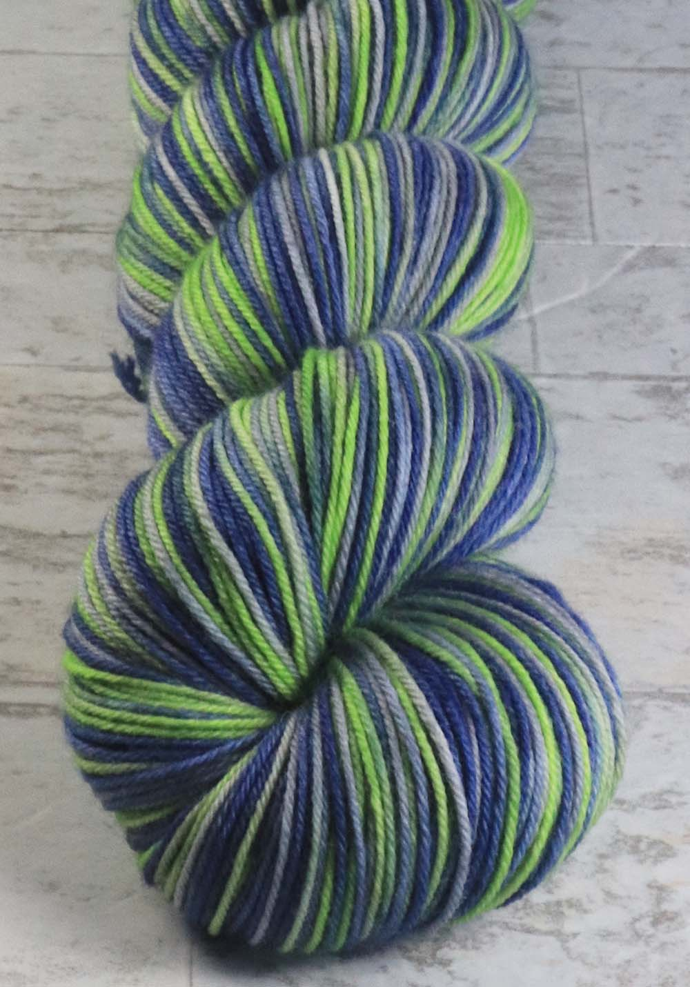 BLUE - GREEN - GRAY: SW Merino-Nylon - Hand dyed Variegated - sport team sock yarn - SEATTLE