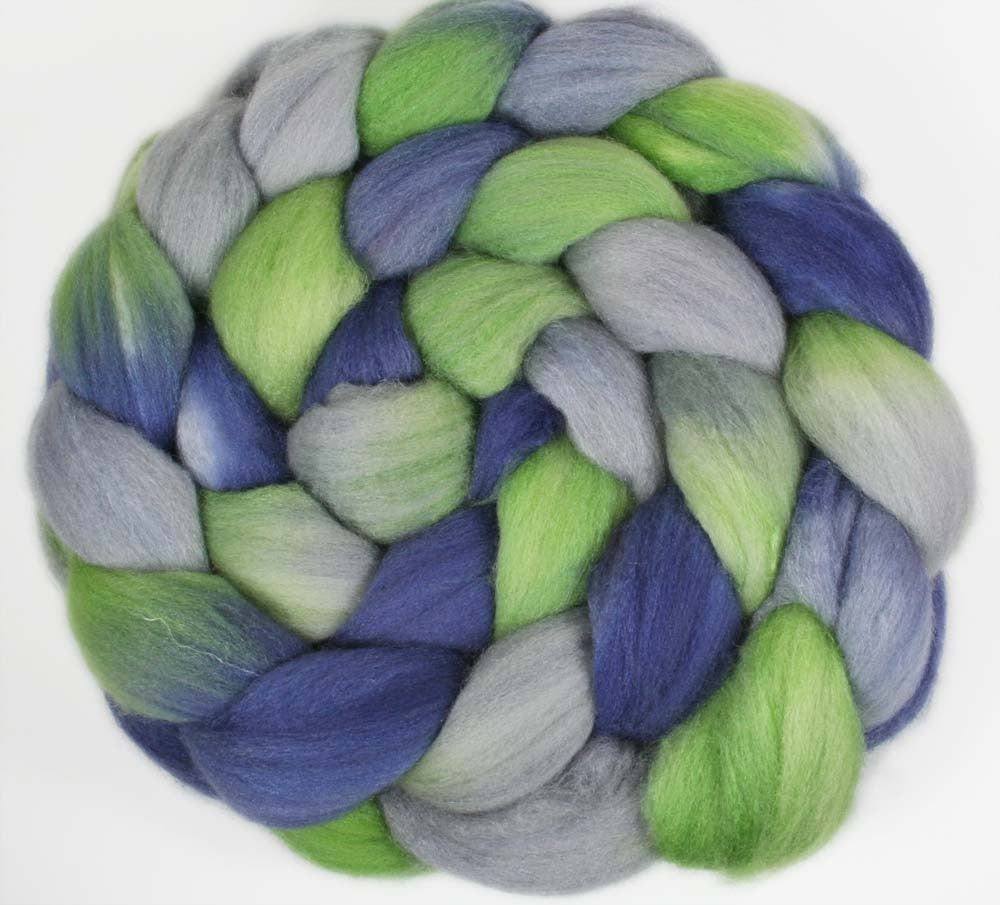 BLUE/GREEN/GRAY: Merino wool-Silk roving - 3.75 oz - Hand dyed wool roving - Hand dyed wool - Football Team colors - Sports team colors - SEATTLE