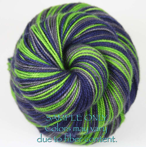 Dyed-To-Order: BLUE-GREEN-GRAY - Hand dyed Sports Team Self Striping Sock Yarn - SEATTLE
