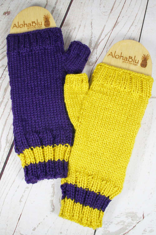 SKOL Mitts - Purple and Gold fingerless mitts - MENS Medium size