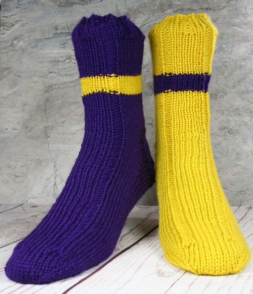 SKOL Socks - Purple and Gold handmade hand knit socks - US MENS size 11-12