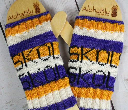SKOL Mitts - Hand dyed handmade sparkle striped fingerless mitts - LADIES Medium size