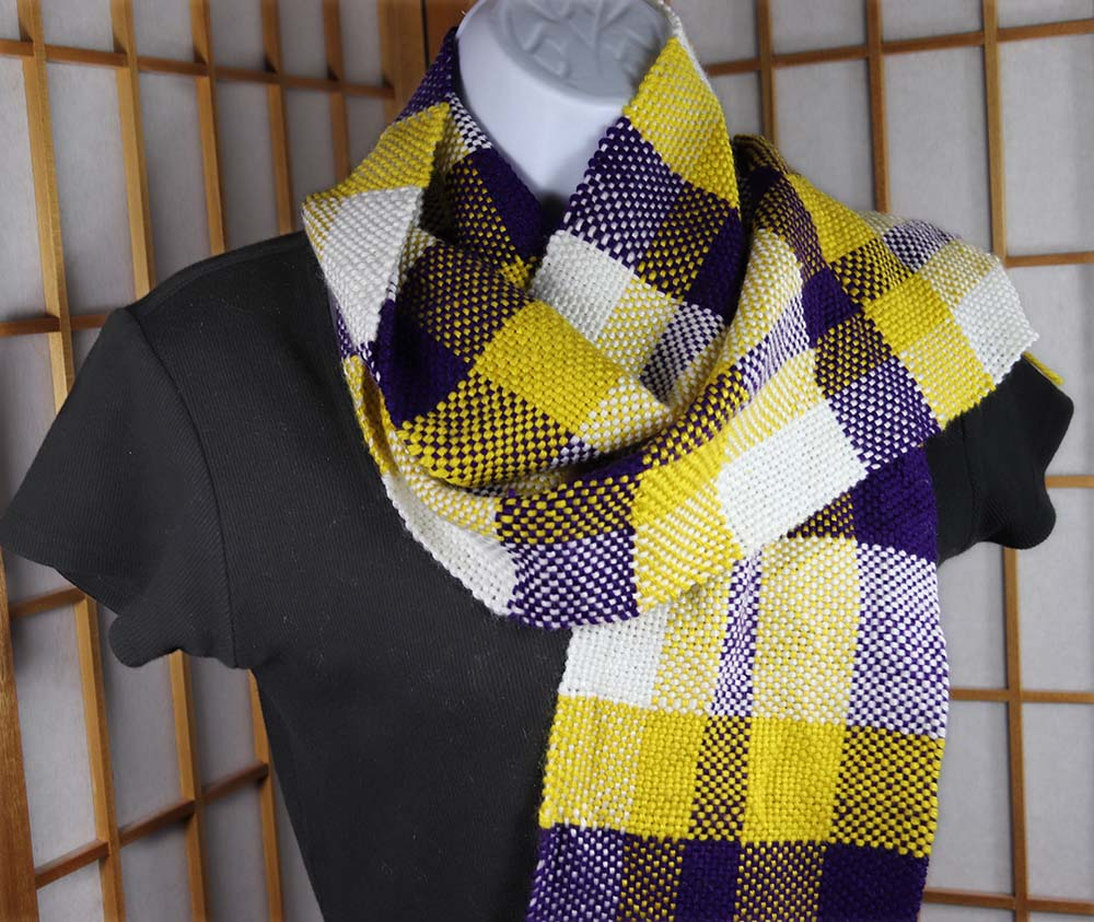 SKOL SCARF (B): Superwash Wool/Acrylic - Purple/Gold/White - Handwoven stripe scarf
