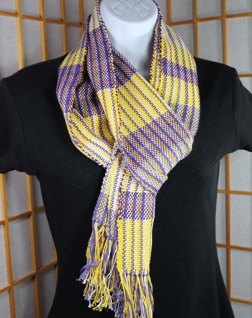 SKOL SCARF (A): Pima Cotton / Superwash Merino-Nylon - Purple/Gold/White - Handwoven Hand dyed stripe scarf