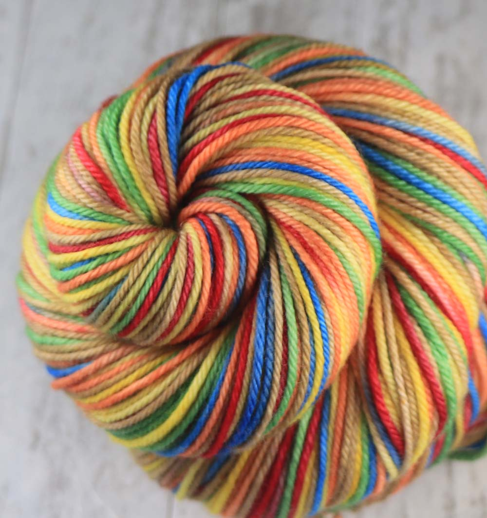 SOUTHERN SUMMER WREATH: Superwash Merino-Nylon - Hand dyed Variegated DK yarn