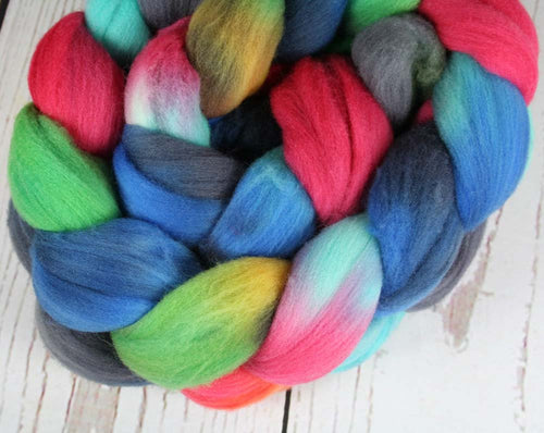 STAINED GLASS ALTAR: Rambouillet Wool Top - 4 oz - Hand dyed spinning wool