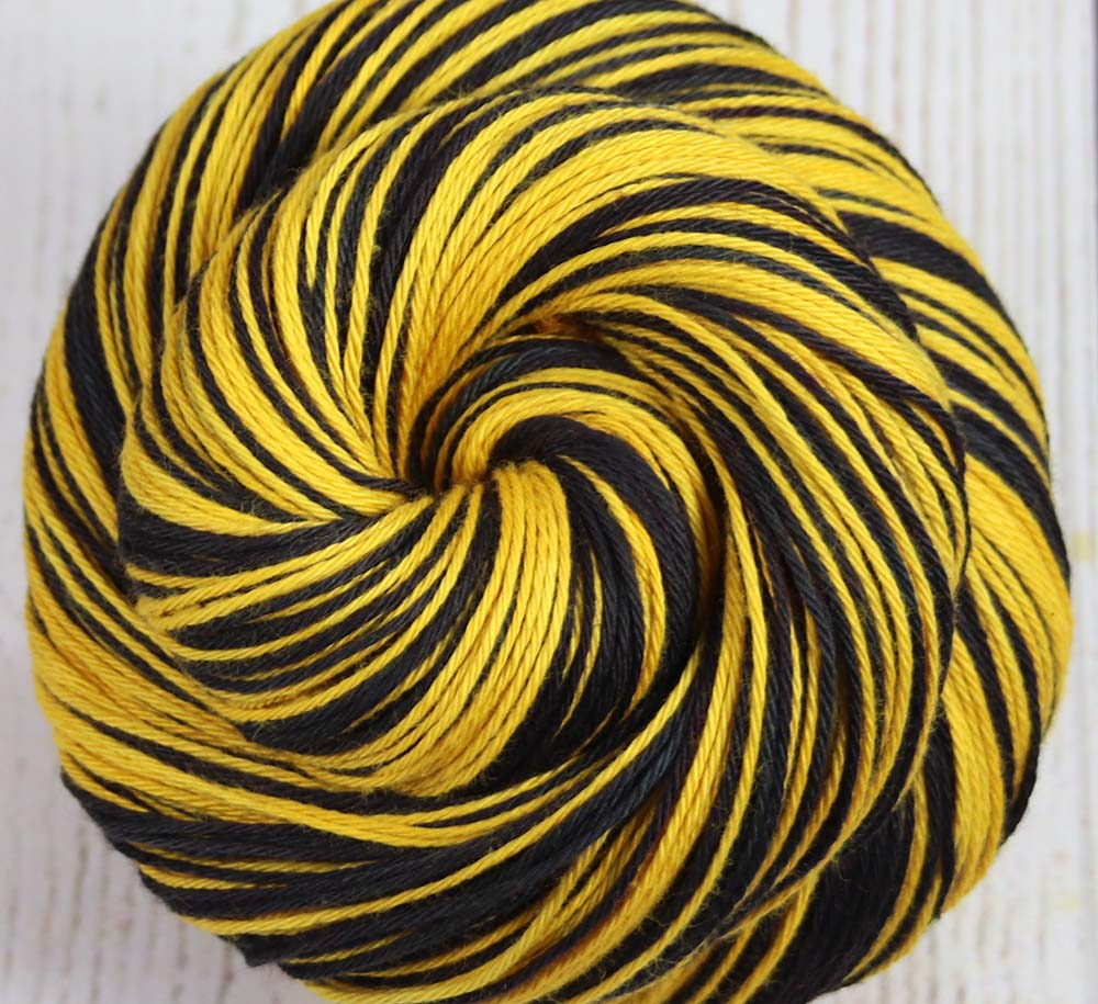 BLACK-GOLD: Self-Striping Cotton - Sock/Fingering Weight - Hand dyed yarn - PITTSBURGH, BOSTON