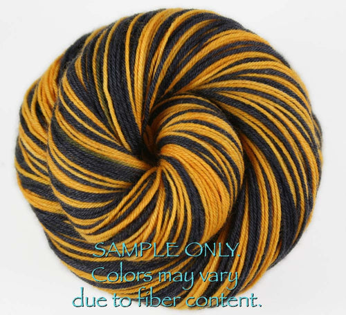 "Dyed to Order: Sports inspired Self-striping Sock Yarn - ""BLACK - GOLD"" - Hand dyed yarn - Indie dyed yarn - Team colors - Football yarn - Baseball Basketball Racing Hockey Soccer yarn - School colors yarn - PITTSBURGH, BOSTON"