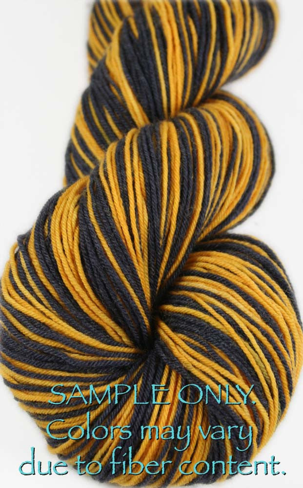 Dyed-To-Order: BLACK-GOLD - Hand dyed Sports Team Self Striping Sock Yarn - PITTSBURGH, BOSTON
