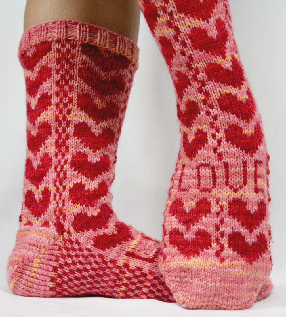 KNITTING PATTERN for Sweetheart Socks -  Charted Sock pattern - digital download - Colorwork Stranded knitting