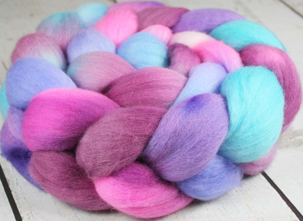TEAPOT STILL LIFE: Organic Polwarth roving - 4.0 oz - Hand dyed Spinning wool