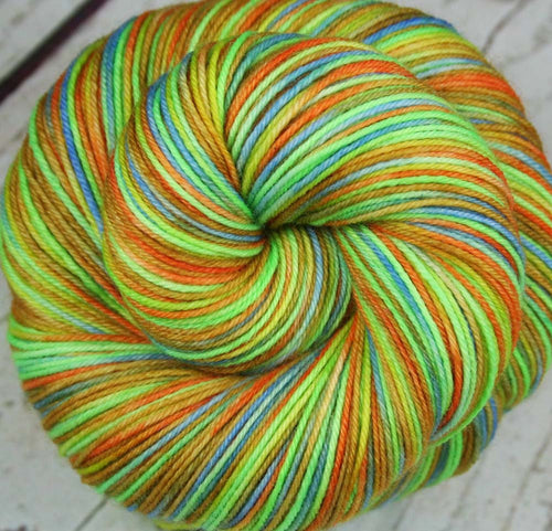 THE COLORFUL MR. G: Superwash Merino Wool-Nylon - Fingering / Sock Weight Yarn - Hand dyed Variegated Gecko yarn