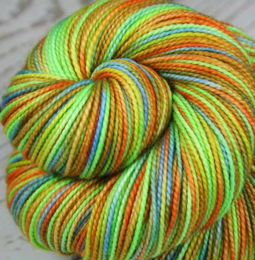 THE COLORFUL MR. G: Superwash Merino Wool-Nylon - Fingering / Sock Weight Yarn - Hand dyed Variegated Tight Twist Gecko yarn
