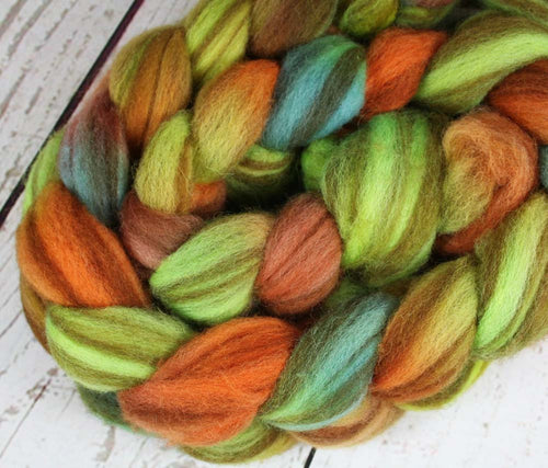 THE COLORFUL MR. G: : Striped Shetland roving - 4.0 oz - Hand dyed Hawaii inspired roving - Gecko wool