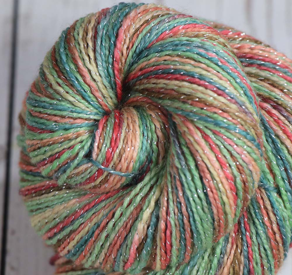 THE FOUR SEASONS: SW Merino-Lurex Sparkle Sock Yarn - Hand dyed Variegated yarn