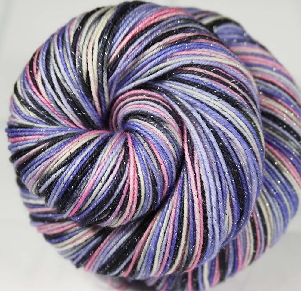 TIME OF MY LIFE: SW Merino-Lurex Sparkle Sock Yarn - Hand dyed Variegated yarn