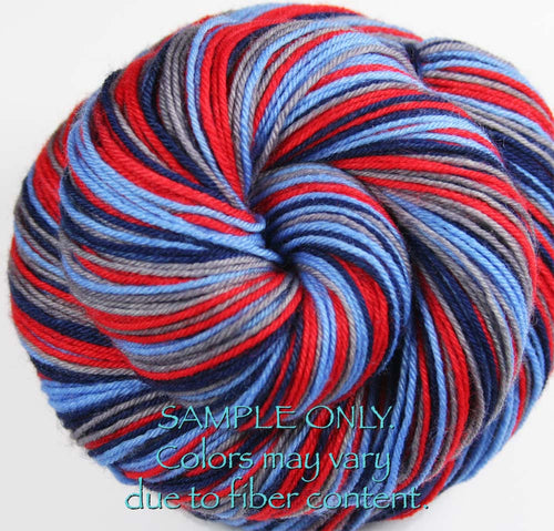 Dyed-To-Order: LIGHT BLUE-BLUE-RED-GRAY - Hand dyed Sports Self Striping Sock Yarn - TENNESSEE