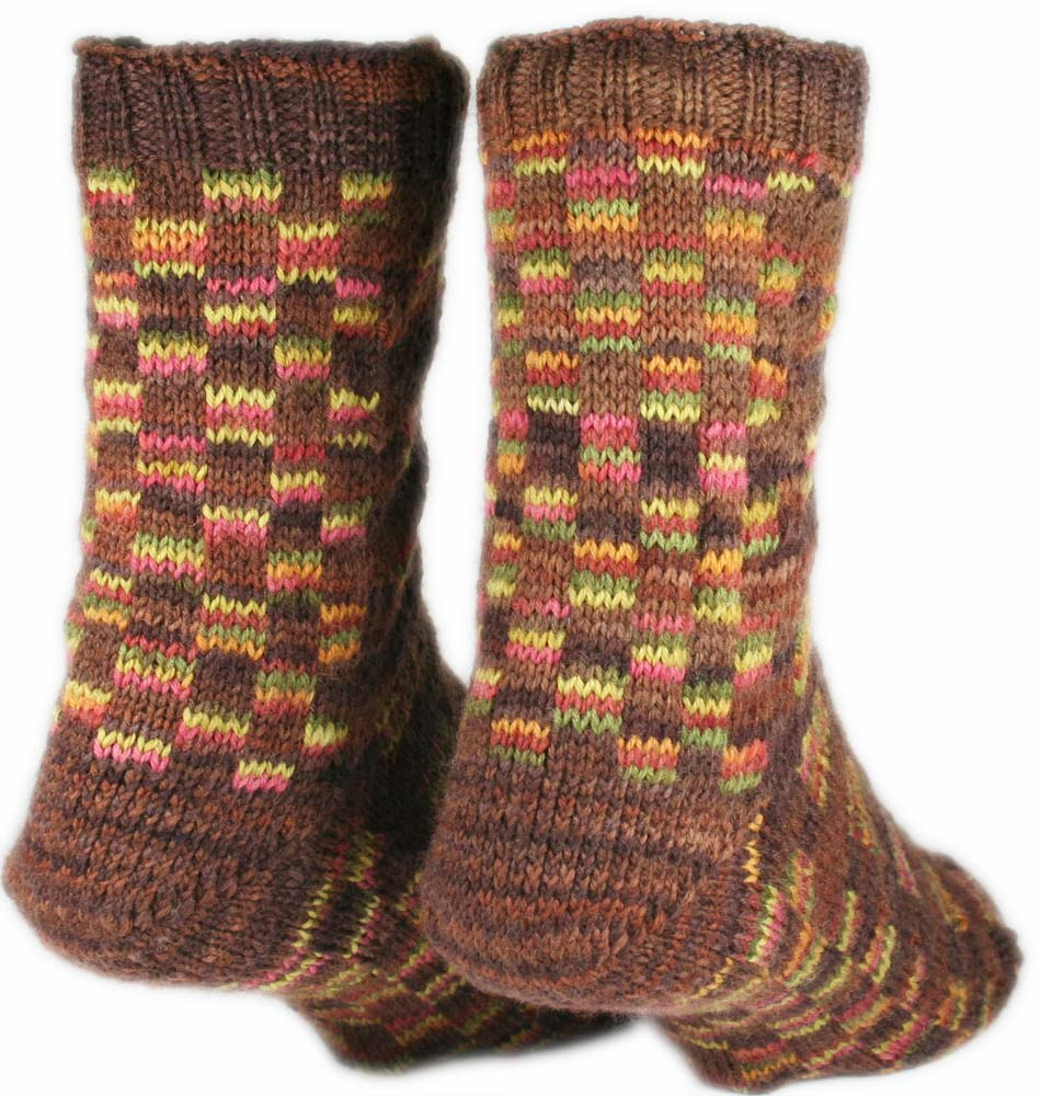 TORCELLO BRIDGE SOCKS: Superwash Merino Wool- Nylon - Wide width socks - Handmade - Hand knit - Brown socks - Cable socks