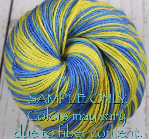 Dyed-To-Order: LIGHT BLUE-GOLD - Hand dyed Sports Self Striping Sock Yarn - LOS ANGELES