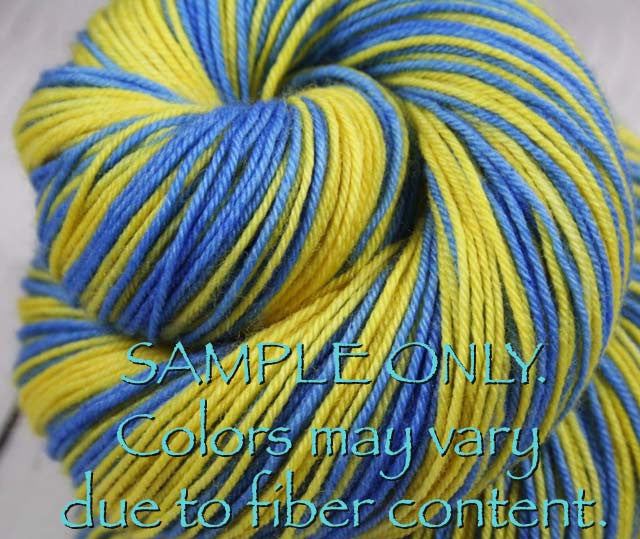 "Dyed to Order: Sports inspired Self-striping Sock Yarn - ""LIGHT BLUE - GOLD"" - Hand dyed sock yarn - Sports Team colors - School colors yarn - LOS ANGELES, CALIFORNIA"