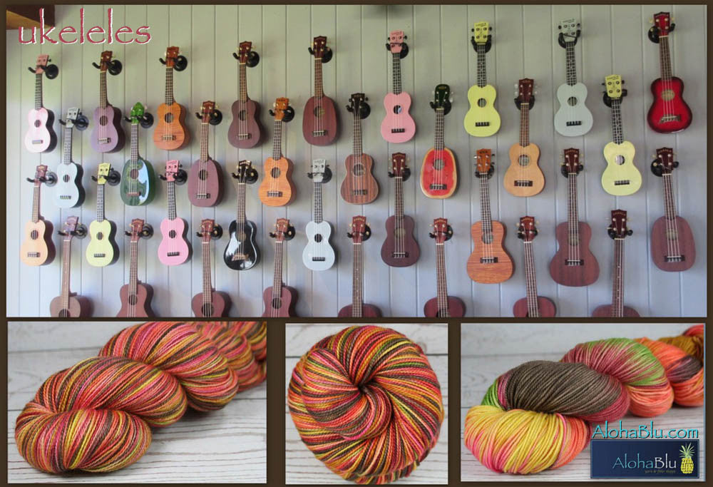 UKELELES: Superfine Merino-Silk - Hand dyed variegated lace yarn - Hawaii inspired