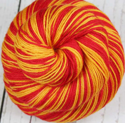 """CARDINAL RED - GOLD"" - Sports inspired Self-striping Sock Yarn - Hand dyed sock yarn - Sports Team colors - School colors yarn - LOS ANGELES, CALIFORNIA"