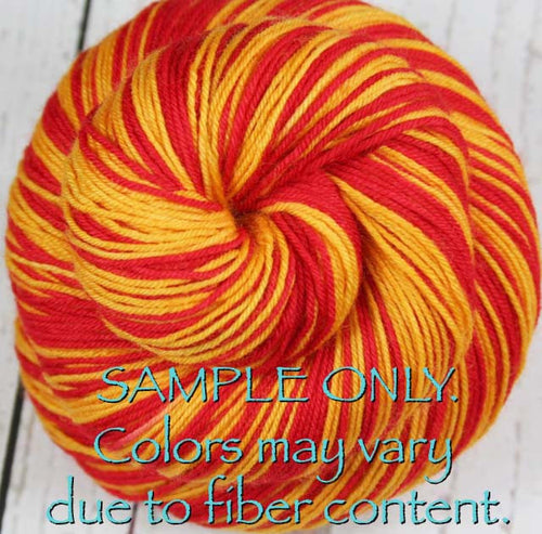 Dyed-To-Order: RED-GOLD - Hand dyed Sports Team Self Striping Sock Yarn - KANSAS CITY, LOS ANGELES