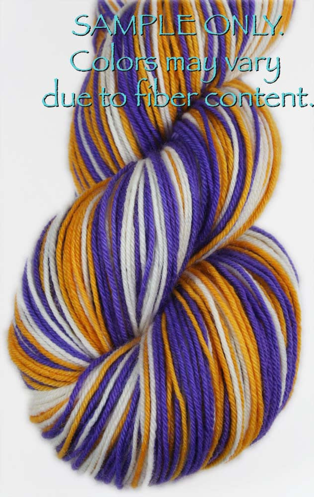 "Dyed to Order: Sports inspired Self-striping Sock Yarn - ""PURPLE - GOLD - WHITE"" - Hand dyed yarn - Indie dyed yarn - Team colors - Football yarn - Baseball Basketball Racing Hockey Soccer yarn - School colors yarn - MINNESOTA, LOS ANGELES"