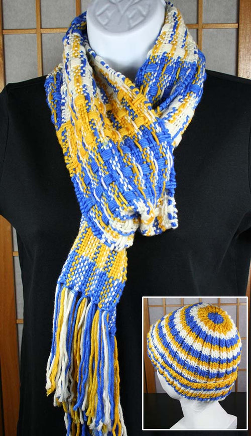 BLUE and GOLD SCARF & HAT: Superwash Merino - Handwoven Hand dyed scarf and beanie hat