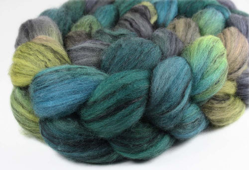 WEST MAUI SUNSET: Merino-Black Tencel Wool Roving - 4 oz - Hand dyed spinning wool