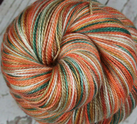 PUMPKIN SPICE: Superwash Merino Wool-Lurex Sparkle - Fingering / Sock Weight Yarn - Hand dyed - Indie dyed Sparkle yarn - Variegated yarn