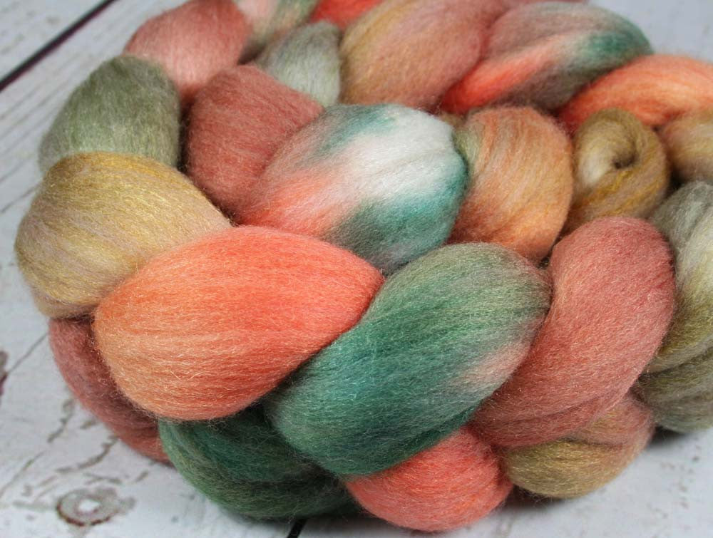 WINTER AT BRYCE CANYON: Polwarth Merino Bright Nylon roving - 4.0 oz - Hand dyed wool roving - Spinning wool roving