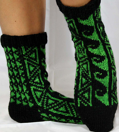 KNITTING PATTERN for Hawaiian Tattoo Socks - Charted Colorwork Sock pattern - digital download