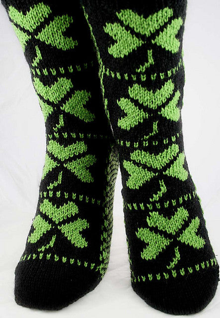 KNITTING PATTERN for Shamrock Socks - Charted Colorwork Sock pattern - digital download