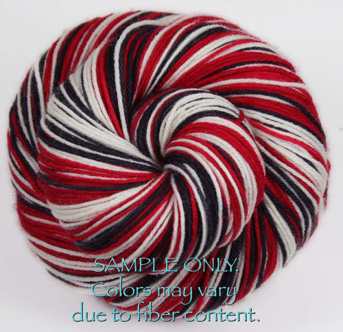 Dyed-To-Order: RED-BLACK-WHITE - Hand dyed Sports Team Self Striping Sock Yarn - CHICAGO, PORTLAND