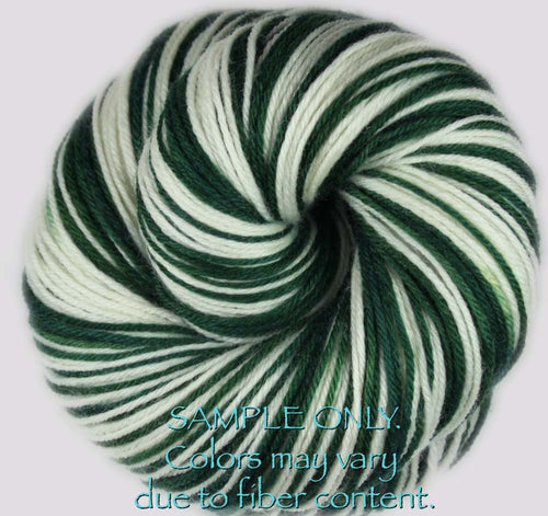 Dyed-To-Order: GREEN-WHITE - Hand dyed Sports Self Striping Sock Yarn - NEW YORK, MICHIGAN