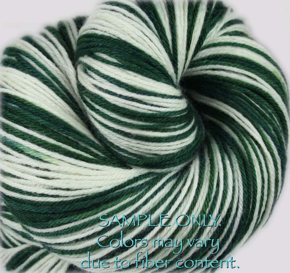 "Dyed to Order: Sports inspired Self-striping Sock Yarn - ""GREEN - WHITE"" - Hand dyed yarn - Indie dyed yarn - Team colors - Football yarn - Baseball Basketball Racing Hockey Soccer yarn - School colors yarn - NEW YORK, DALLAS, MICHIGAN"