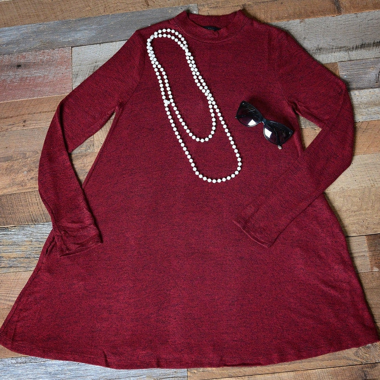 Maroon Long Sleeve Dress with Pockets