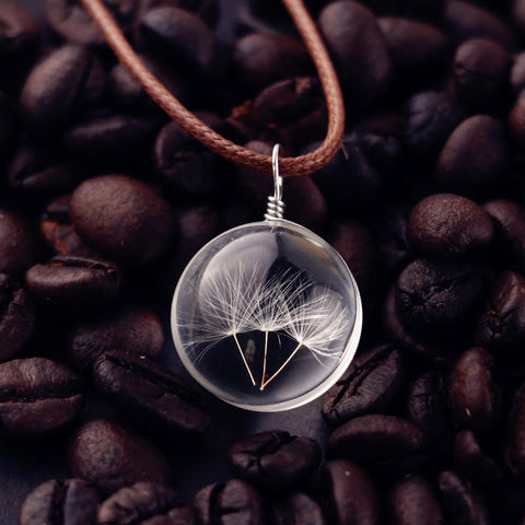 Crystal Glass Wish Pendant Leather Chain
