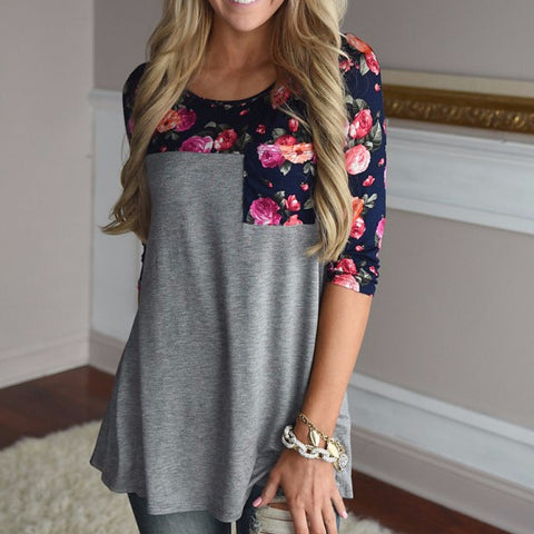 3/4 Raglan Sleeve Floral With Pocket Tee Multiple Colors