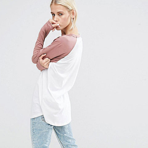 Loose Solid Raglan Sleeve Tee