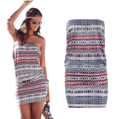 Boho Style Strapless Mini Dress