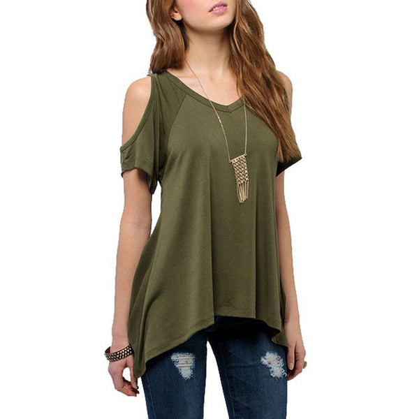 V Neck Off shoulder Casual Tee