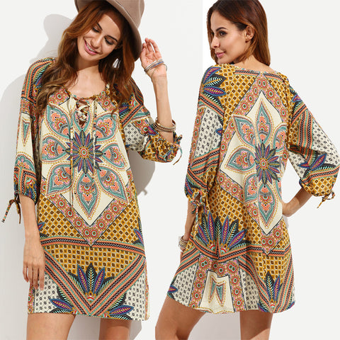 Bohemian  Print Women Mini Dress