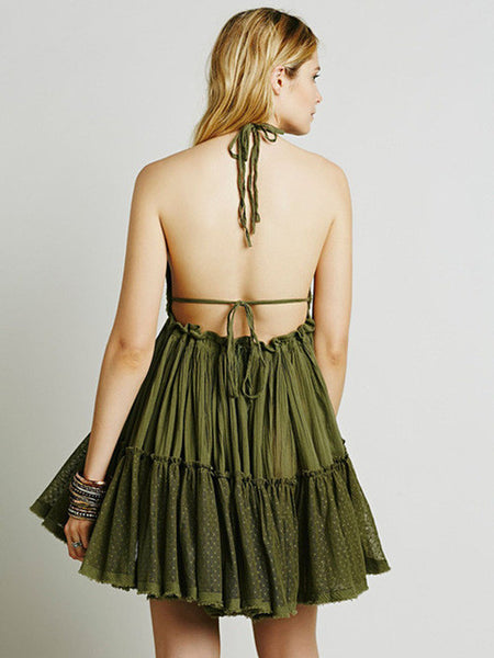 Backless Pleated Double Spaghetti Strap Dress