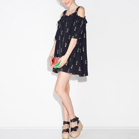 Cactus Off Shoulder Dress