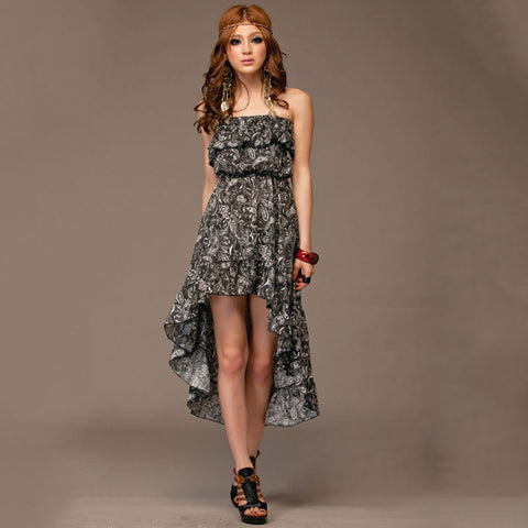 Asymmetric Strapless Floral Print Dress
